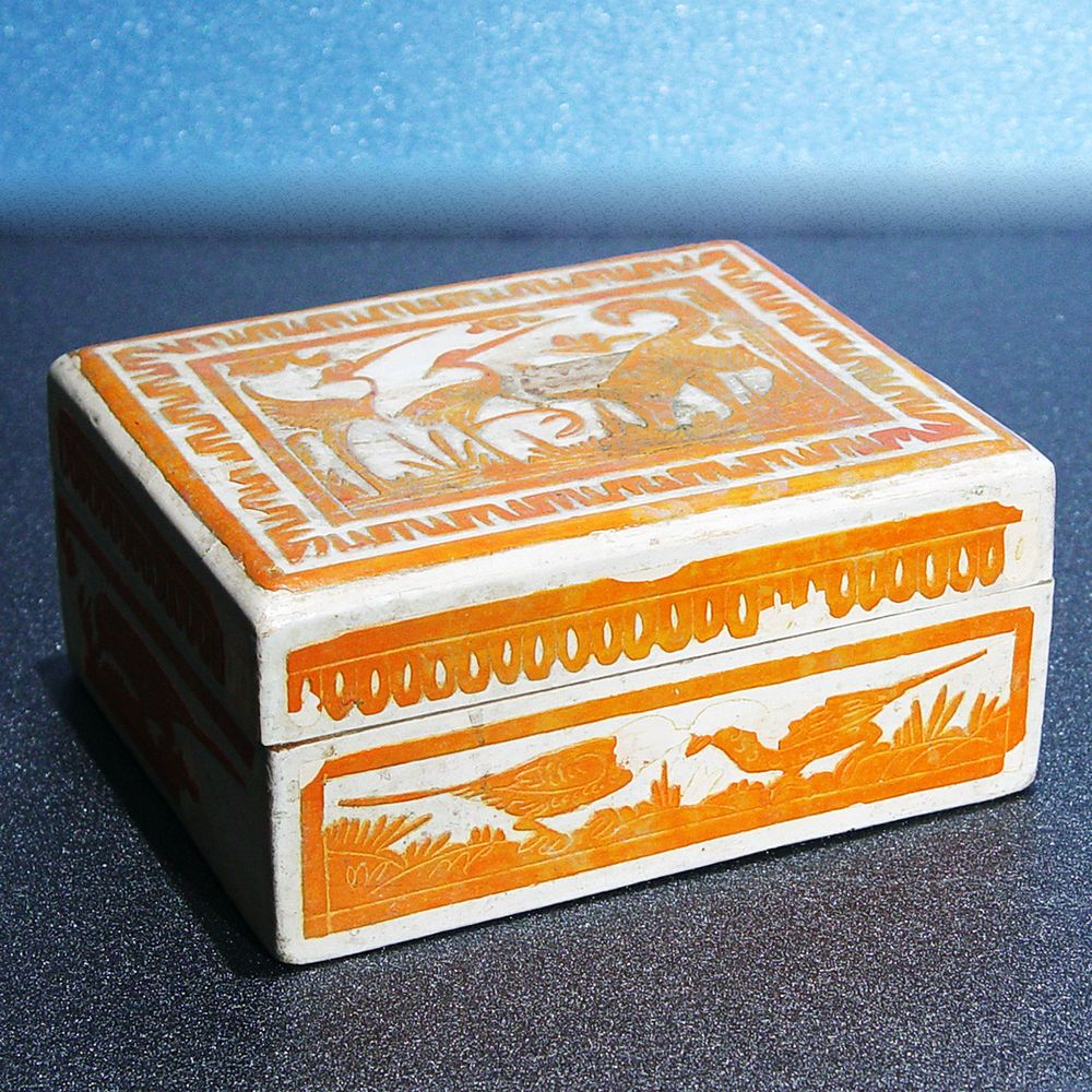 Vintage ca 1940 Mexican Olinala Guerrero Orange Wooden box ...