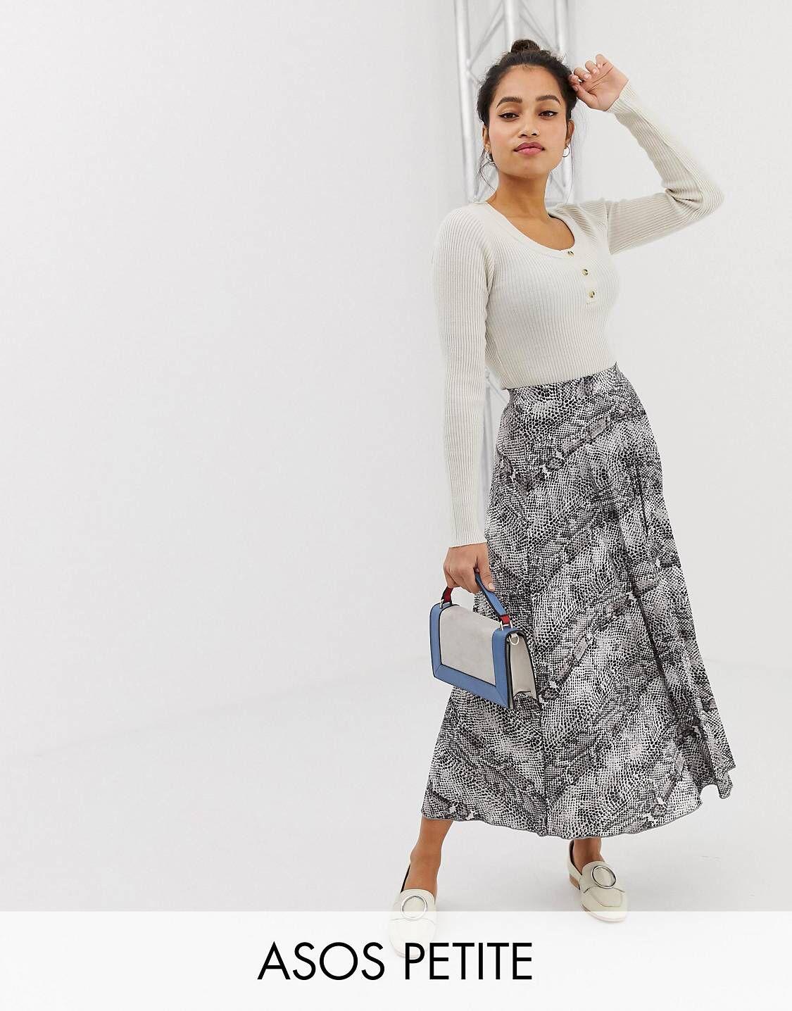 244d9f5ba7 Pleated Midi Skirt · Snake Print · Petite Fashion · Petite Tops, Asos  Petite, Petite Jeans, Petite Style, Petite Outfits, Petite
