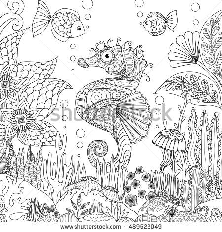 Adult Sea Fishes Fish Book Animal Coloring Travel Vector Deep Underwater Drawing