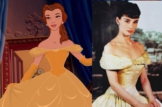 Belle's gown from Beauty & the Beast was directly inspired by the royal gown worn by Audrey Hepburn in … | Disney princess hairstyles, Disney princess, Belle disney