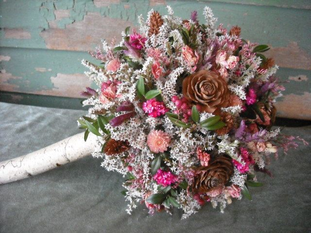 Dried flower Bridal bouquet with Birch handle in pink and brown. For ...