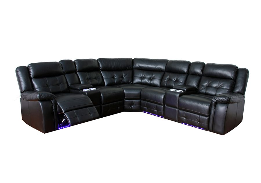 Cobalt Black Reclining Sectional With Led Lights Badcock Home