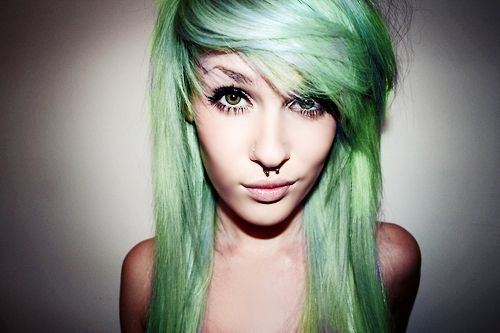 I would totally get a septum piercing, but alas, I do not want one...except I do.... Plus, green hair!
