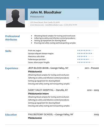 Sample Phlebotomy Resume Enchanting 10 Free Phlebotomy Resume Templates You Must See  Resume Templates .