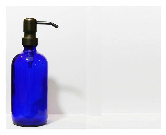 Cobalt Blue Glass Bottle Soap Dispenser Oil by SouthernHomeSupply, $21.99