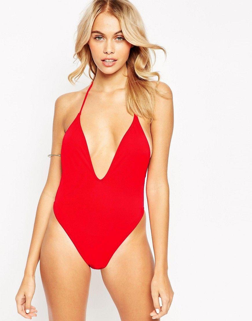 cff87e25e416 ASOS T Back High Leg Plunge Swimsuit - Red | Dresses | Swimwear ...