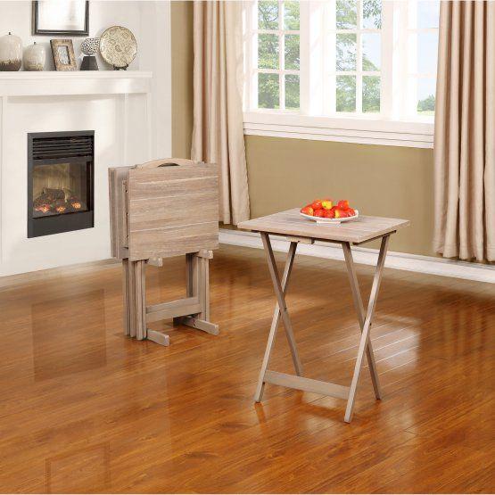 Linon Acacia 5 Piece Folding Tray Table Set in Gray Wash Grey Wash & Linon Folding Tray Table Set | Living Room | Pinterest | Trays ...