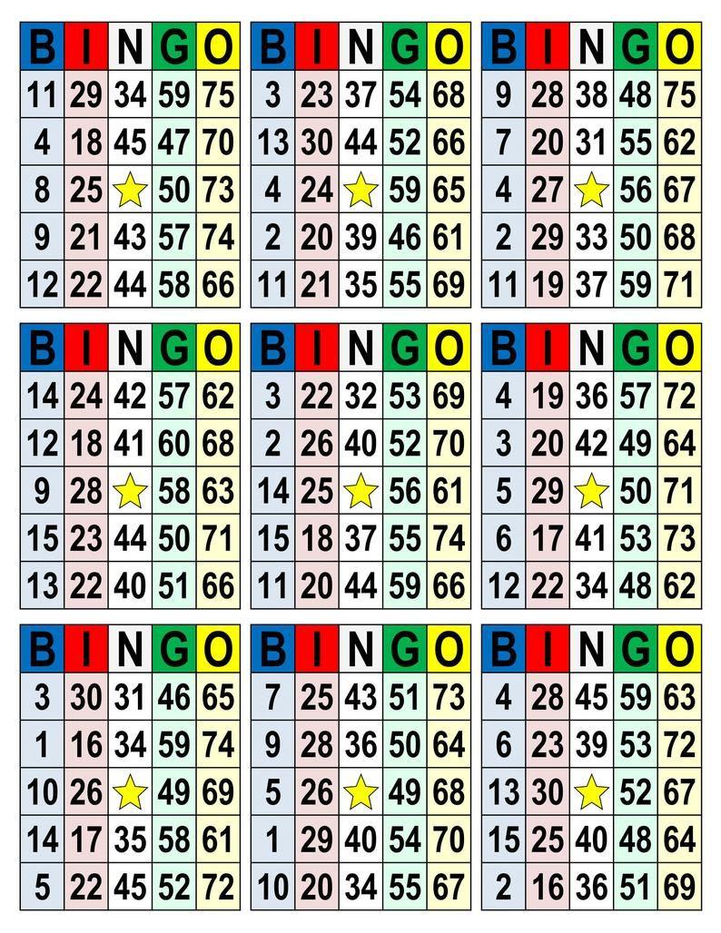 Bingo cards 1008 cards 9 per page pdf download etsy in