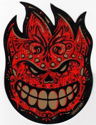 Spitfire wheels muerte fireball skateboard sticker skate board flame fire skate skateboarding sk8 by spitfire