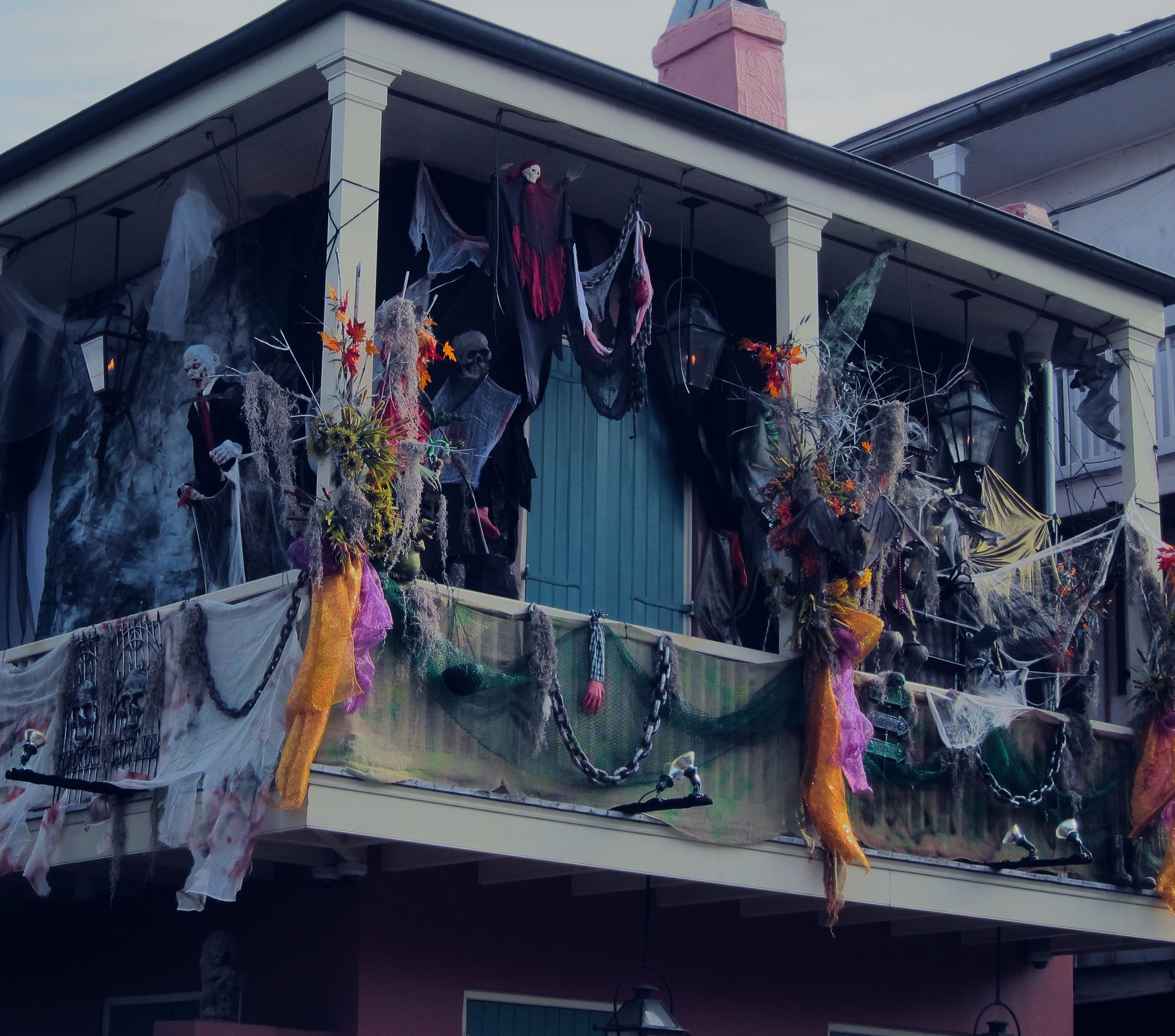 Halloween Decorations New Orleans Balcony French Quarter