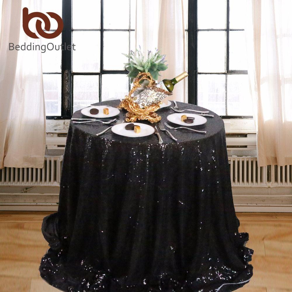 Beddingoutlet Black Sequin Tablecloth Round Table Cloth Sparkly