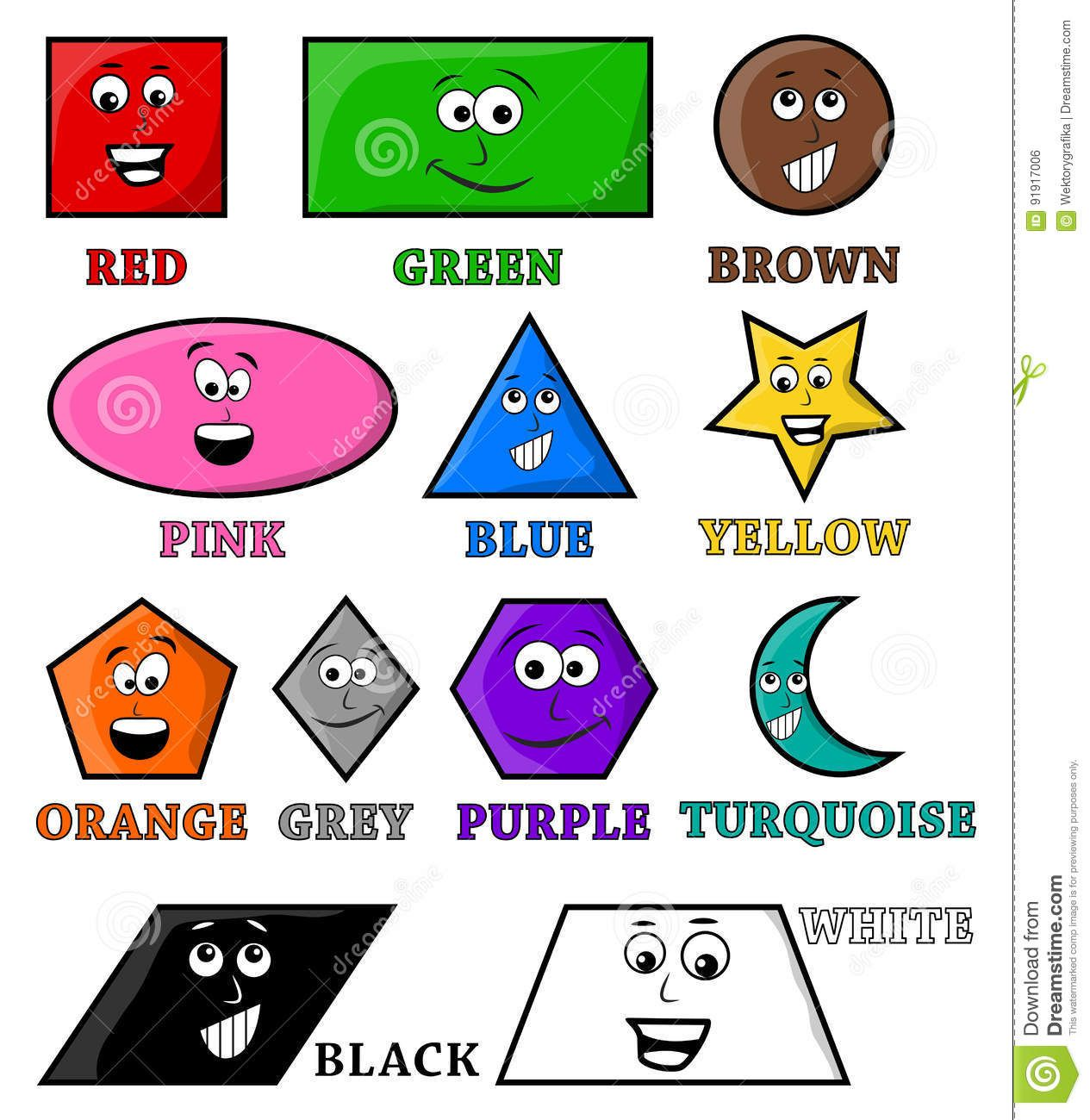 Colors Name And Shape Vector Symbol Icon Design Stock