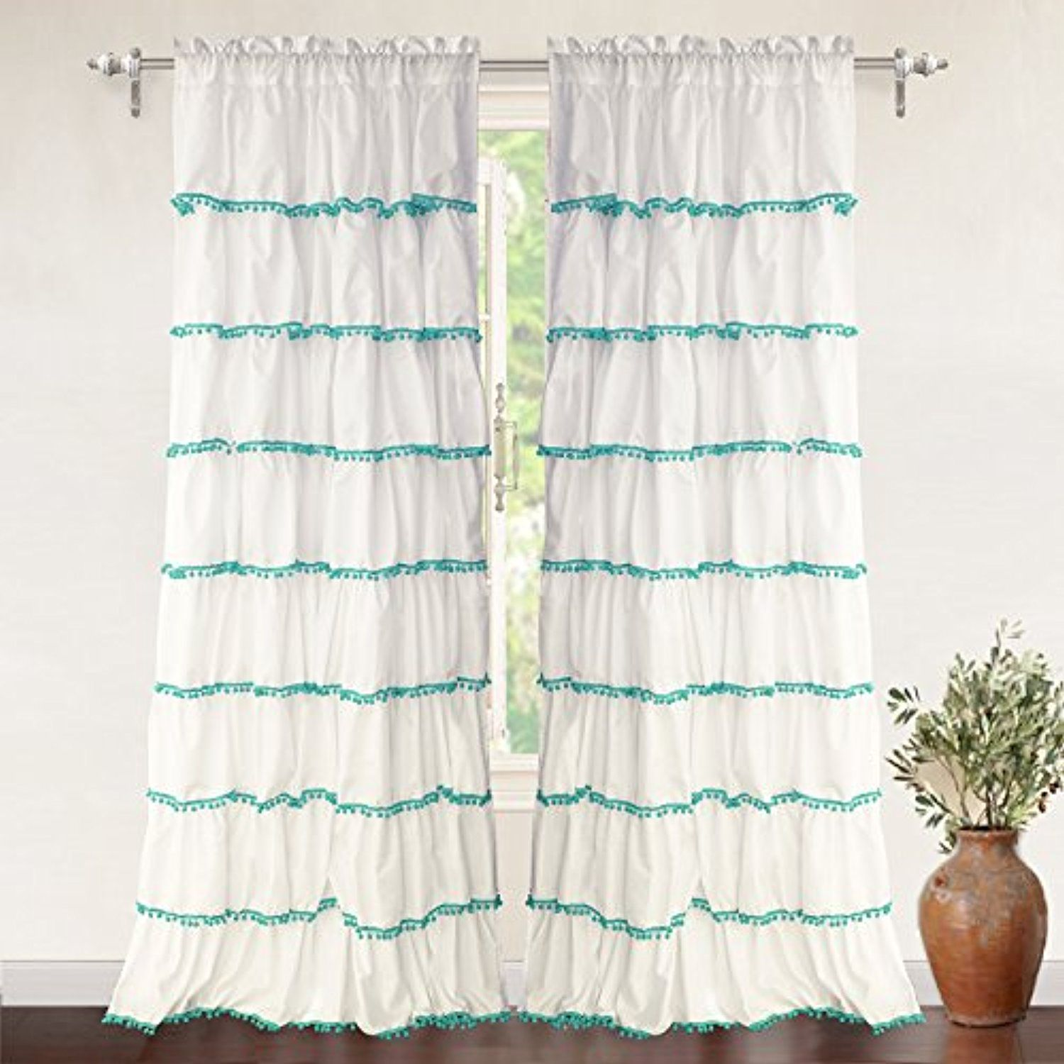 Driftaway Pom Ruffle Window Curtain Rod Pocket One Panel 52â X96â Plus 2 Header Aqua Be Sure To Check Out This Awesome Product