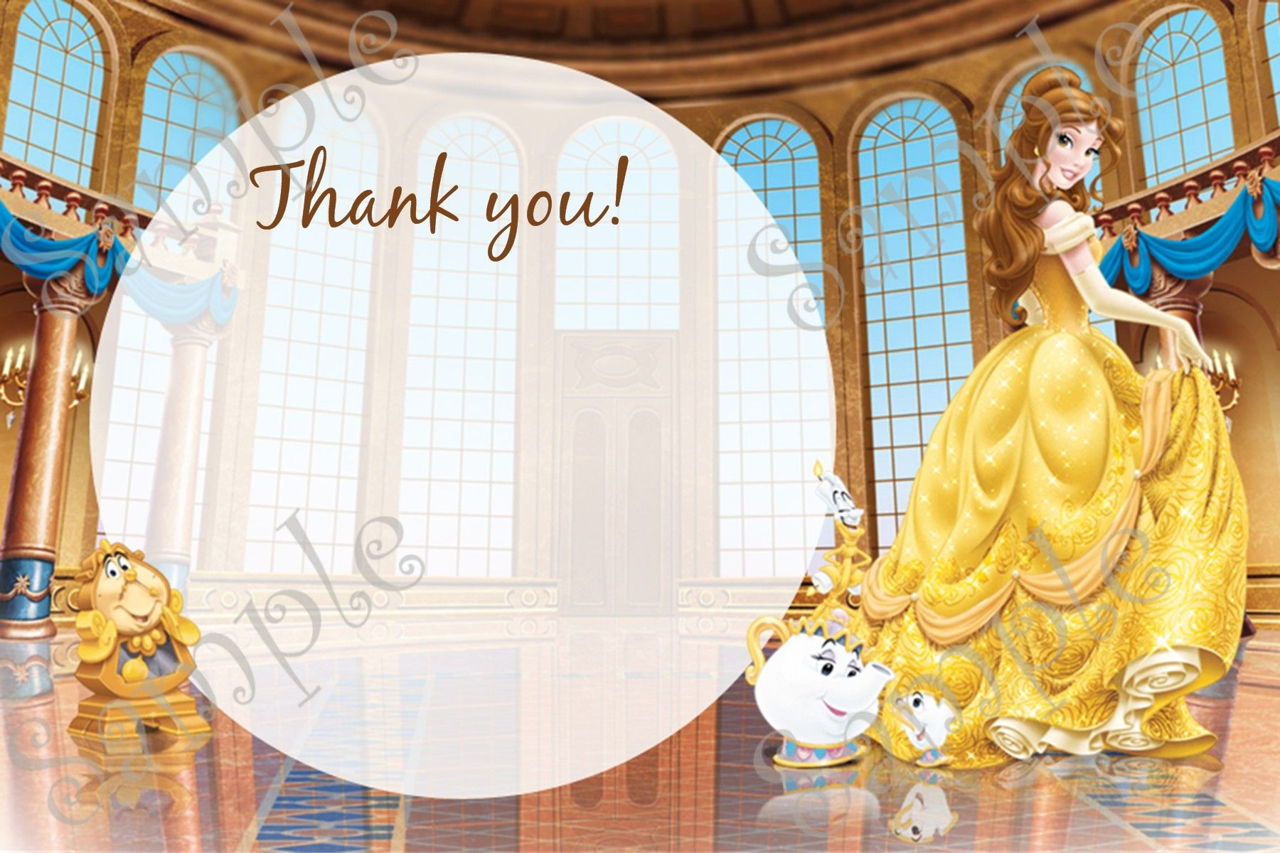 Belle Invitation, Belle Birthday, Belle Thank you card. | Beauty and ...
