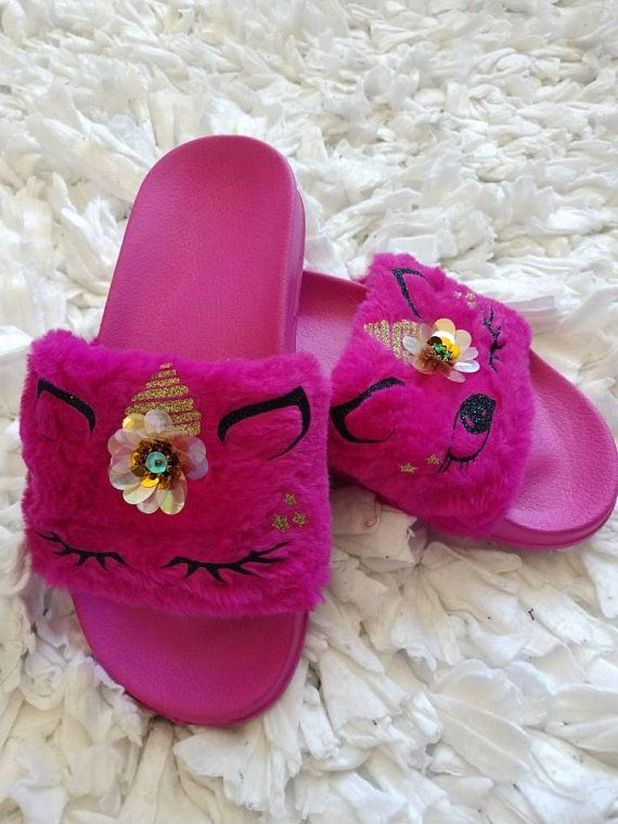 f0c1cd26aa7db Dark Pink Unicorn Slippers  Fur slippers  Kids fur slides  Kids ...