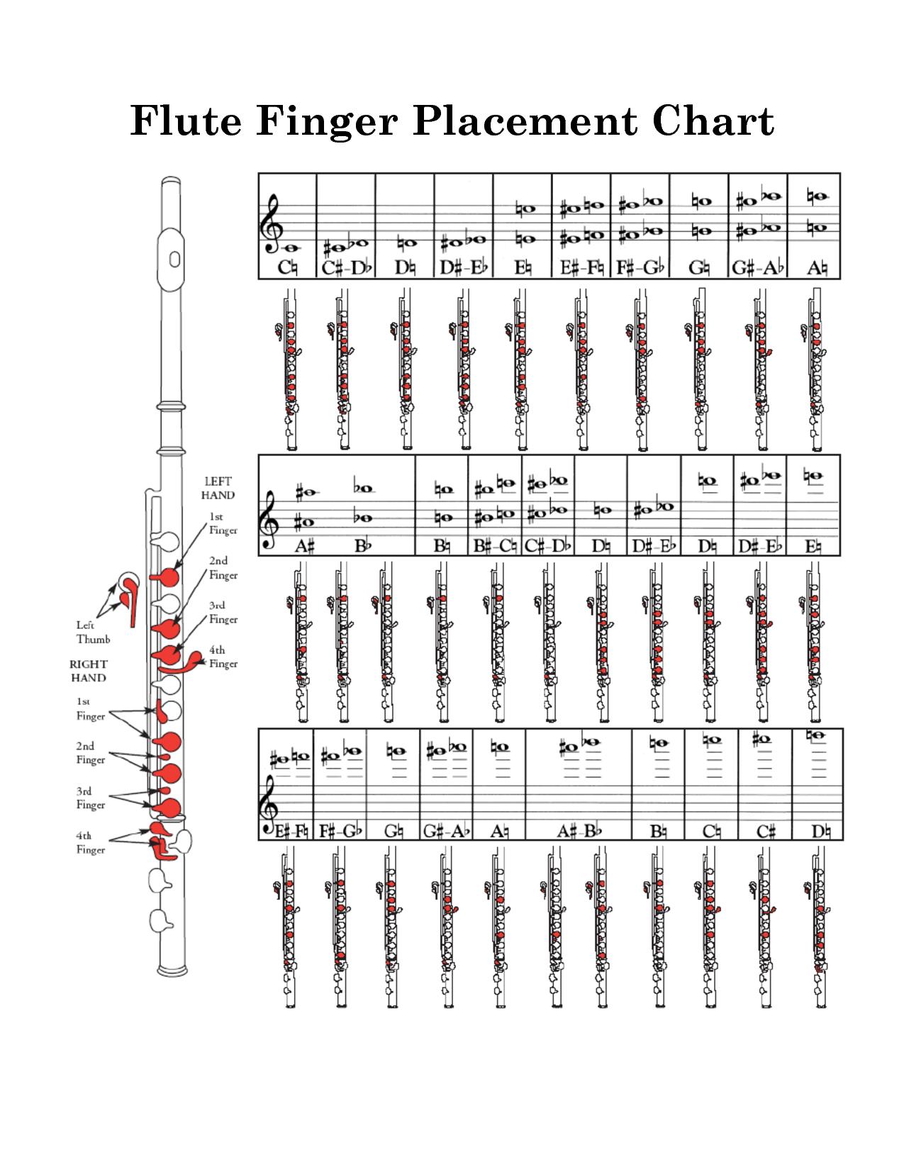 Flute Finger Placement Chart