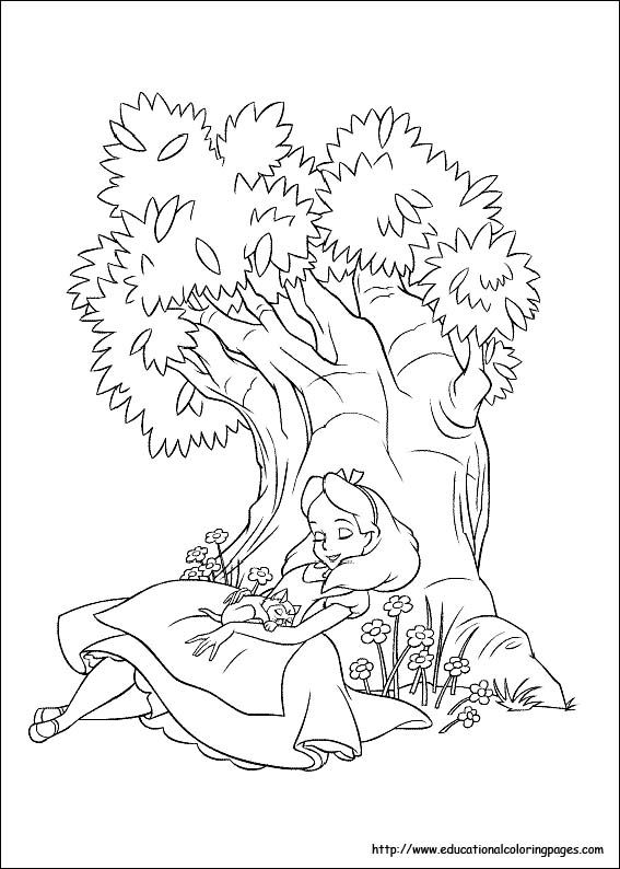 Alice in Wonderland Coloring Pages free For Kids | Colouring pages ...