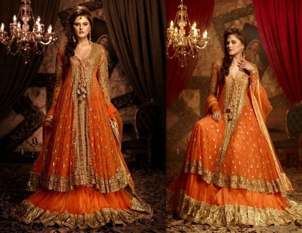 Mehndi Function Dresses : Yellow green and orange is mostly being used on the mehndi