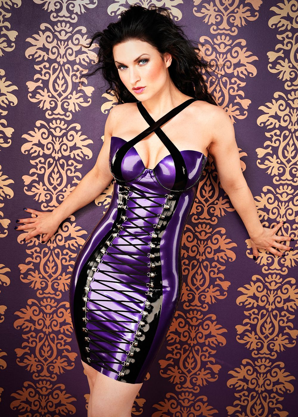 Sister Sinister in Laced Latex Dress by Inner Sanctum