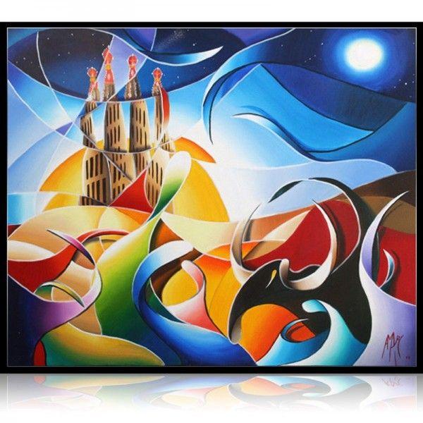 """""""Gaudi in the sky with diamonds"""" 61 x 50 cm  Oil painting on canvas by the painter Amaury Dubois.  Peinture à l'huile sur toile de l'artiste peintre de Lille Amaury Dubois."""