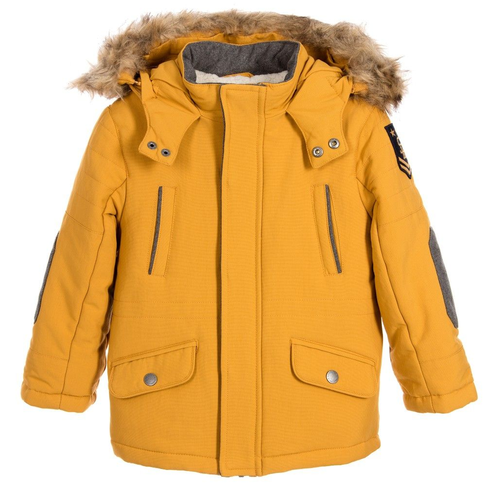 Mayoral Boys Yellow Parka Coat with Fur Trim Hood | #JACKETS ...