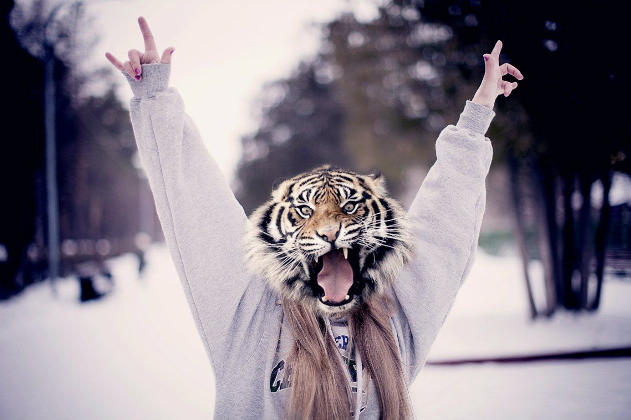 Девушки с головой тигра картинки