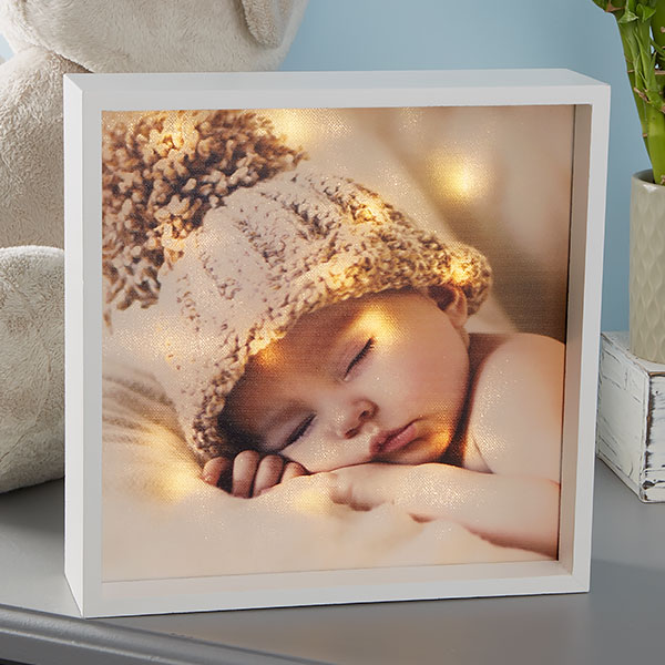 Personalized 10x10 Ivory Baby Photo Led Shadow Box Shadow Box Christmas Shadow Boxes Diy Shadow Box
