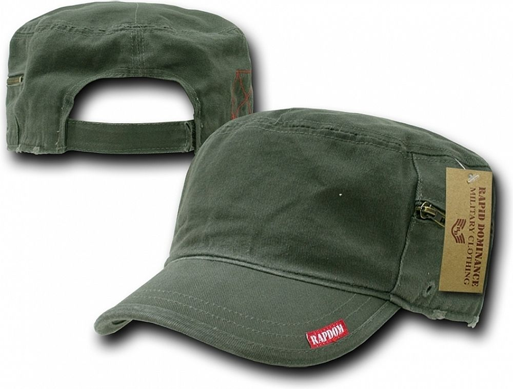 Plain Vintage Washed Patrol Mens Cadet Cap With Zipper In 2020 Vintage Military Military Inspired Cap