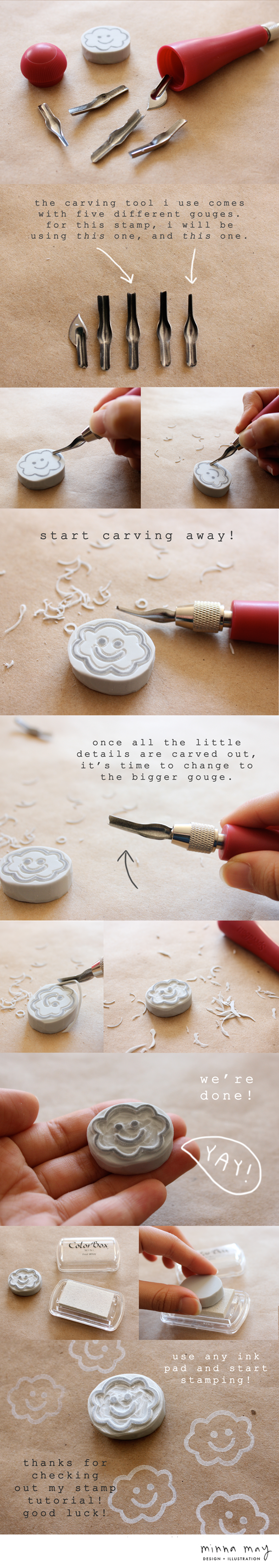 Hand carved stamp tutorial minna may design