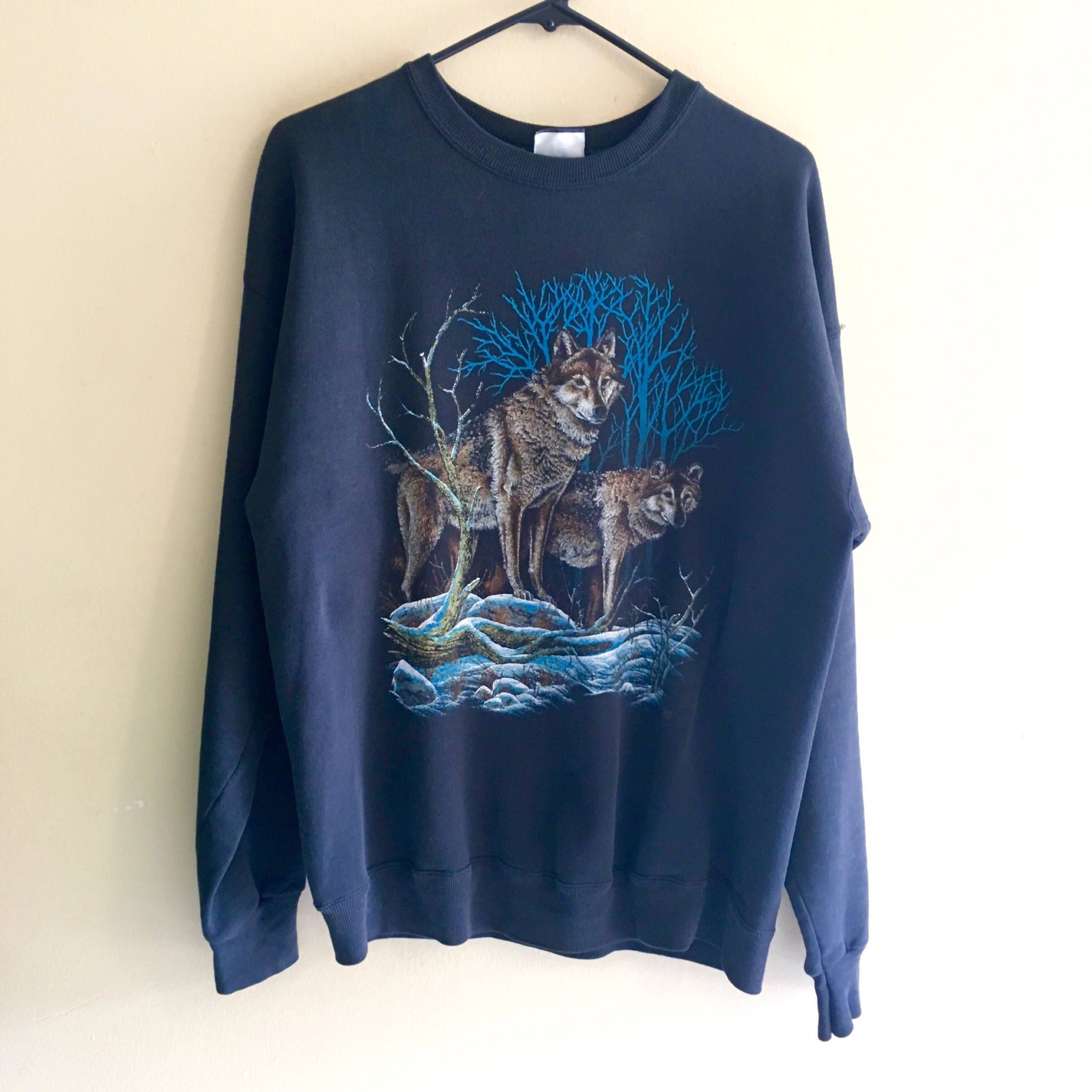 Vtg Wolf Pullover Sweater mens womens vintage graphic LEE sturdy ...