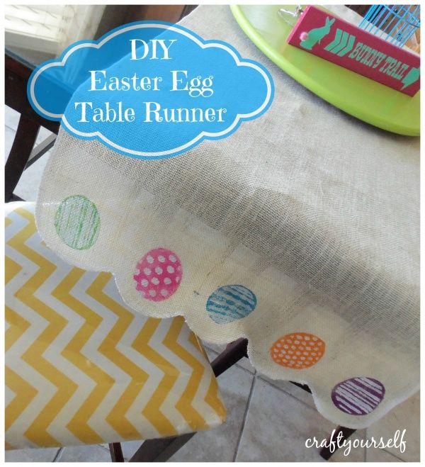 Diy easter egg burlap table runner using a stencil burlap table diy easter egg burlap table runner craft negle Choice Image