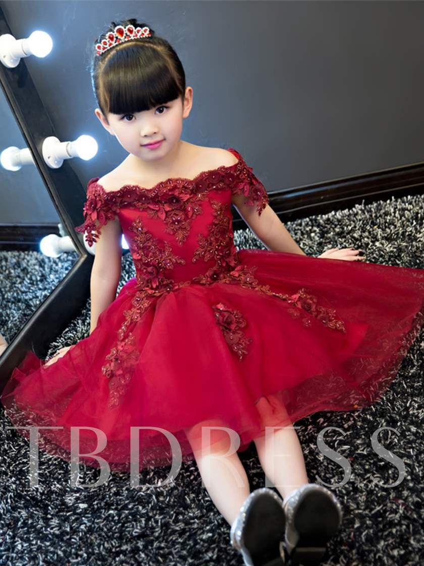 fa53cf321d3 Off-The-Shoulder Short Sleeves Knee-Length Flower Girl Dress