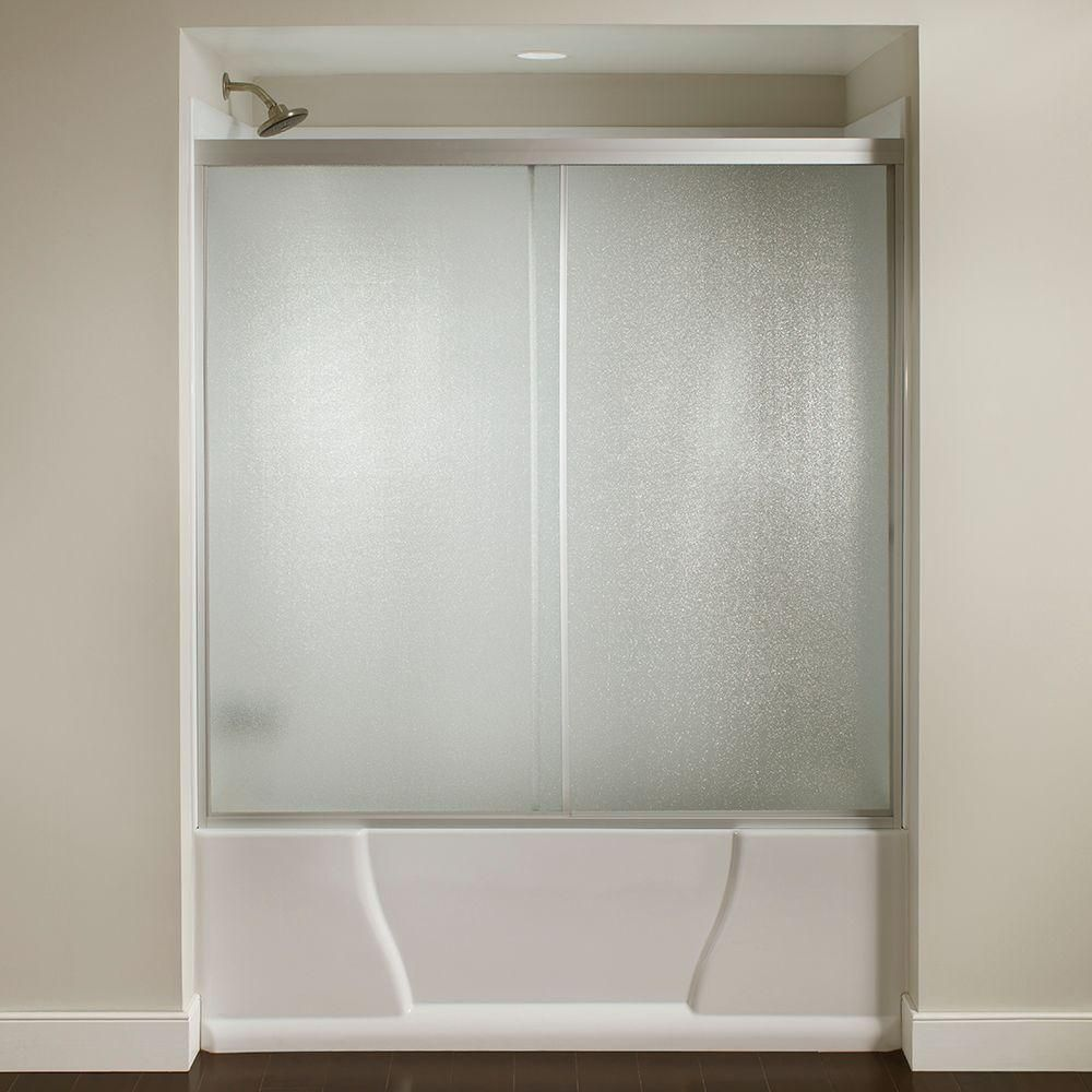60 In X 56 3 8 In Framed Sliding Bathtub Door Kit In Silver With Pebbled Glass Sdkit60 Sil R The Home Depot In 2020 Bathtub Doors Shower Doors Tub Doors