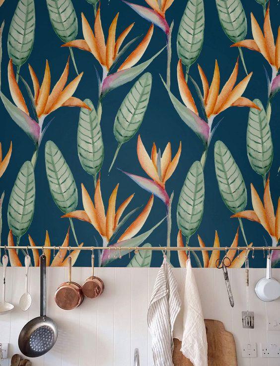 Abnehmbare Hintergrundbilder, selbstklebende Tapete, Heliconia Wallpaper, tropischen Blumen Wanddekoration, Floral Tapete - JW043