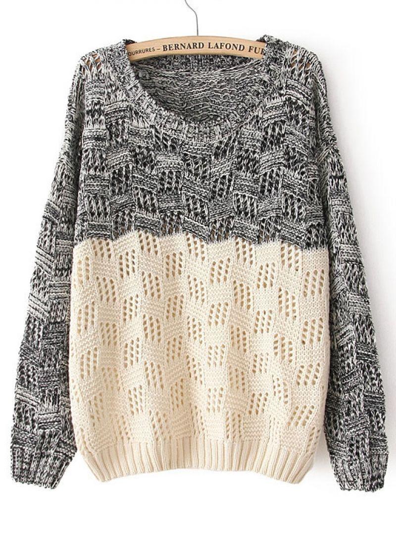 Black Beige Long Sleeve Geo Pattern Sweater  f8fad3174e0d