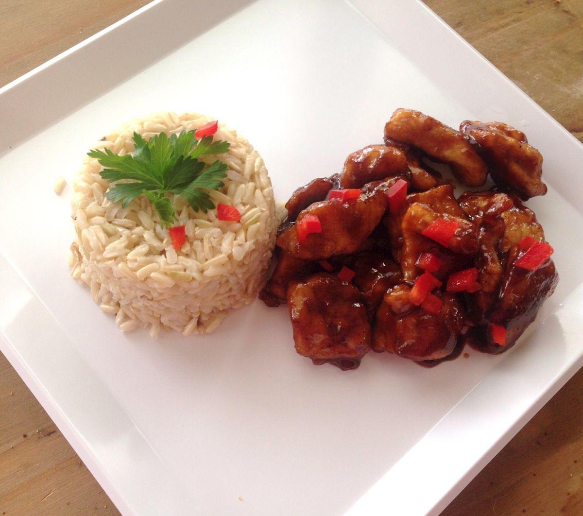 Firecracker Chicken!  So yummy and ready in less than 30 minutes!  Gluten free too!  Thyme with Lauren