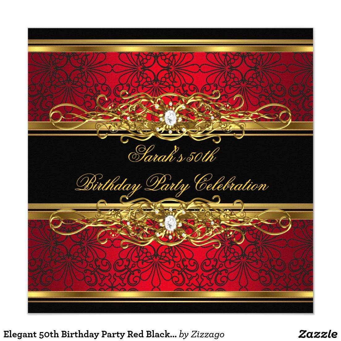 elegant 50th birthday party red black gold damask invitation my