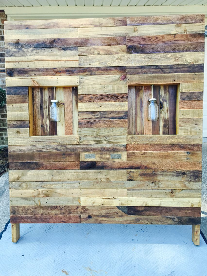 Pallet wood headboard with ball jar light fixtures stuff ive pallet wood headboard with ball jar light fixtures arubaitofo Gallery