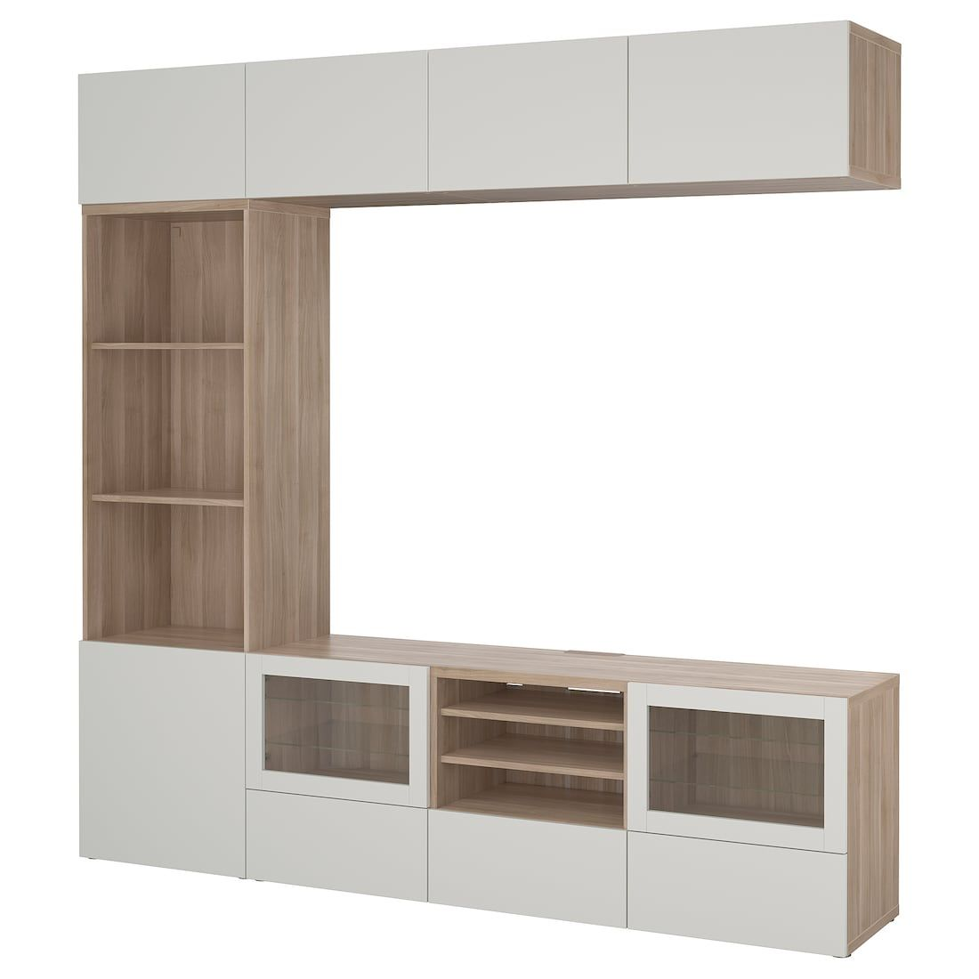 Ikea BestÅ Tv Storage Combination Glass Doors Walnut - Ikea Meuble Tiroir