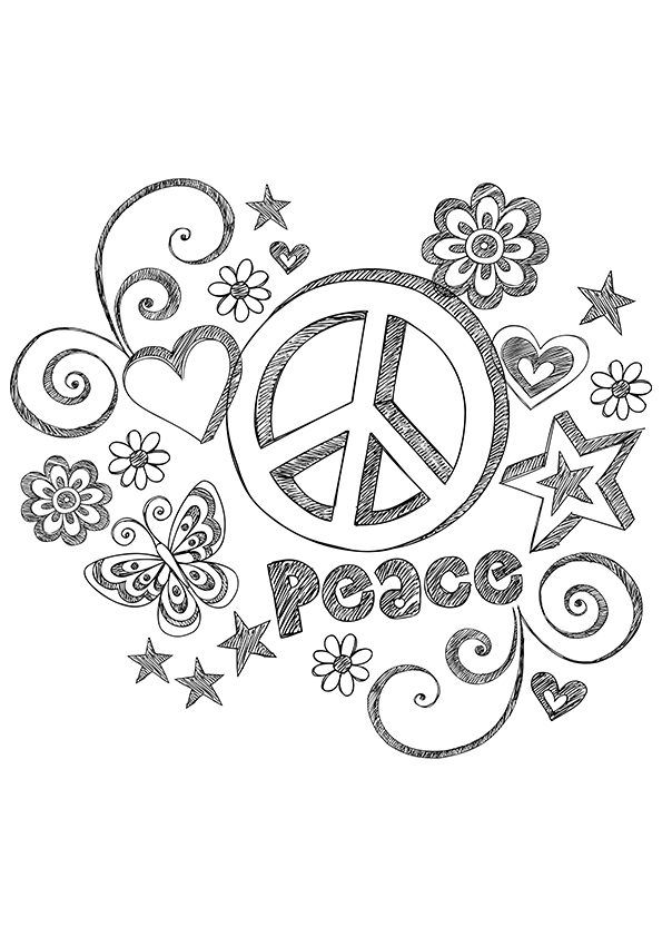 Simple and Attractive Free Printable Peace Sign Coloring Pages ...
