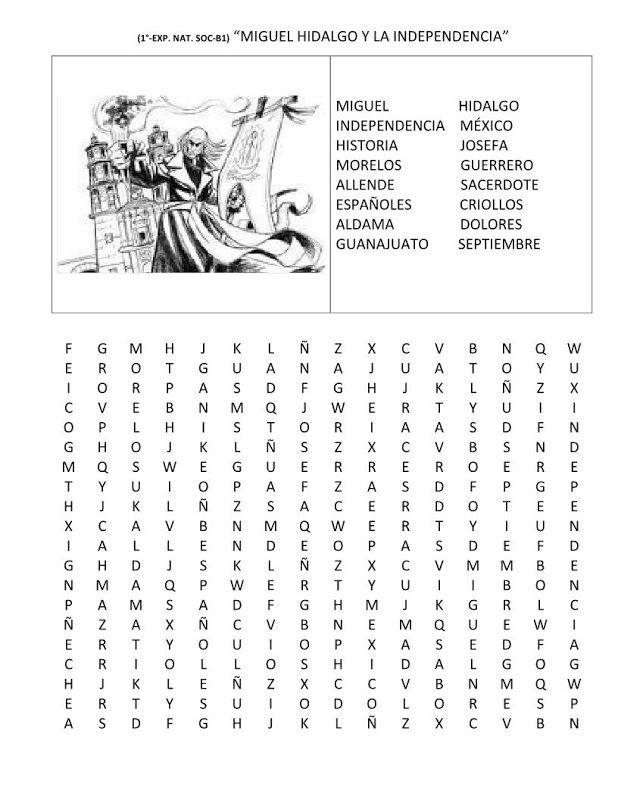 Sopa de letras: Sopa de letras de la independencia de México - 16 ...