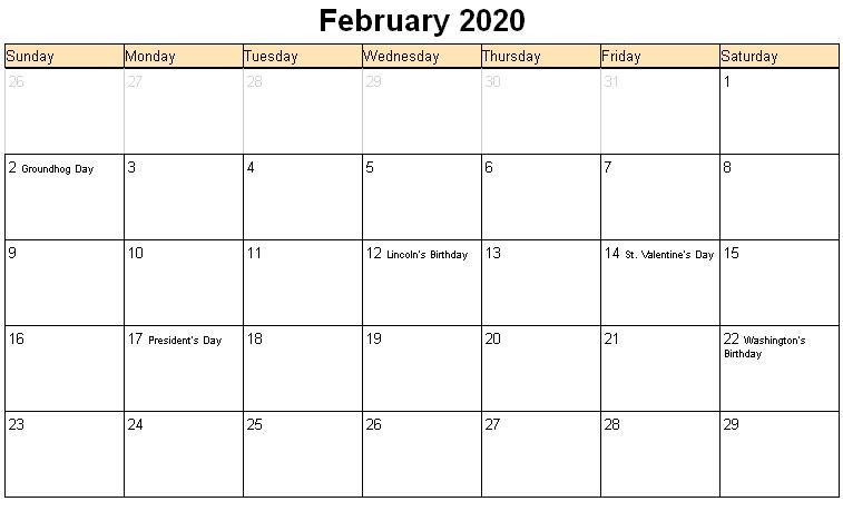 February Calendar 2020 Free Printable Template Pdf Word Excel