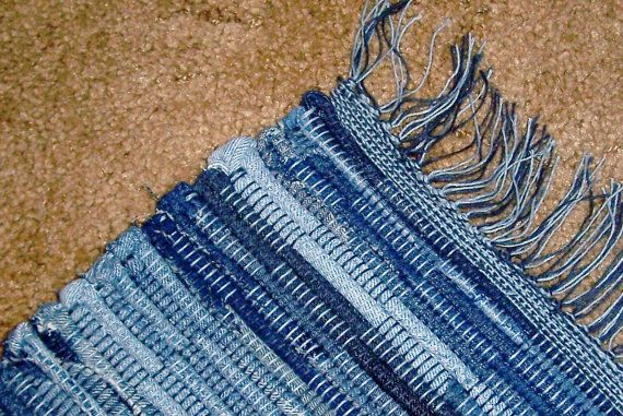 Loom Woven Rag Rug Recycled Denim 5 Ft Long Made In Usa
