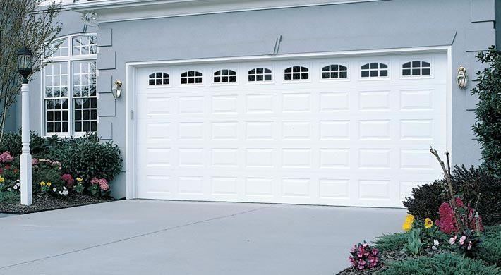 Traditional Short Panel With Cascade Windows White Garage Doors Garage Door Design Door Repair