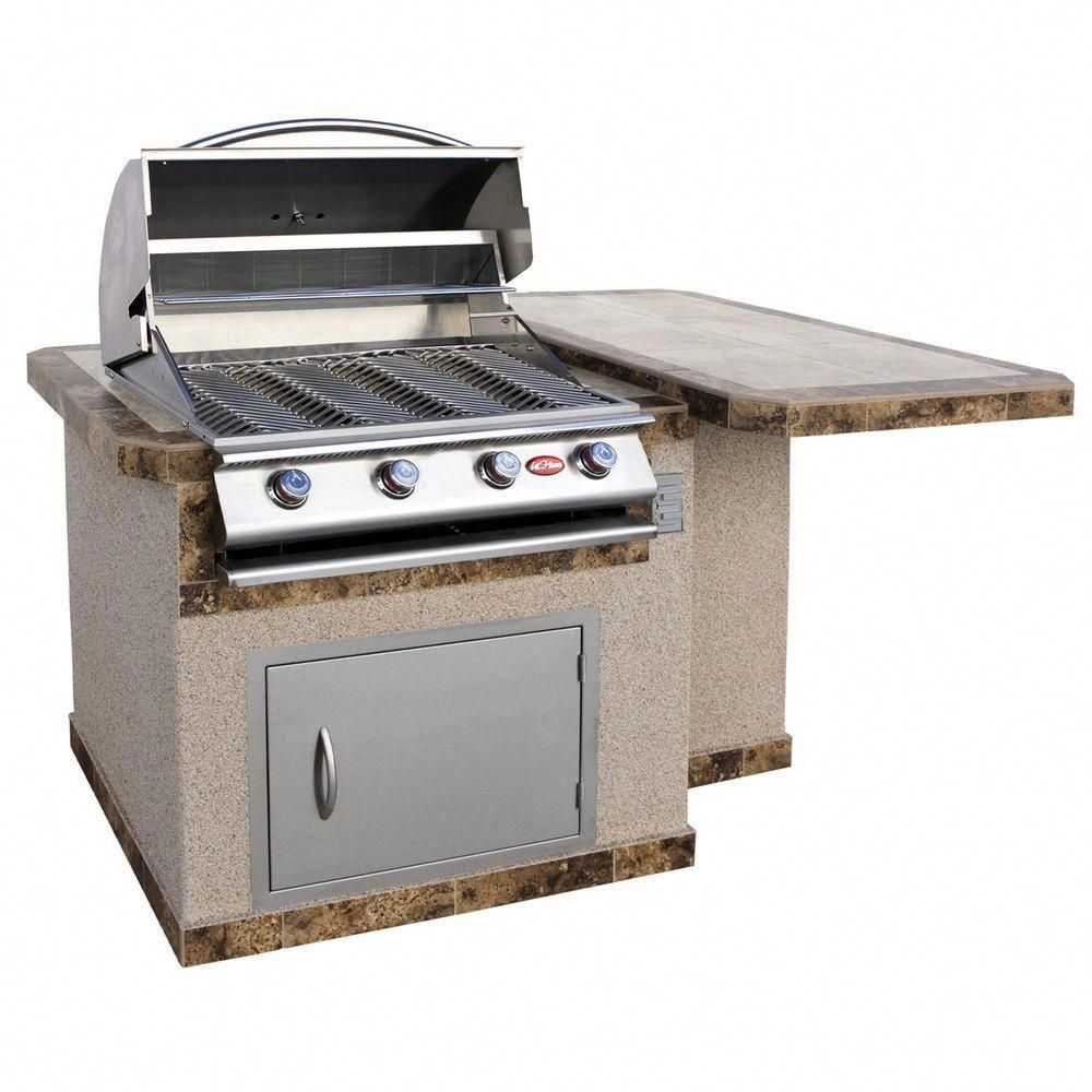 Cal Flame 6 Ft Stucco Grill Island With Tile Top And 4 Burner Gas Grill In Stainless Steel Lbk 402 A The Home Depot Outdoor Kitchen Island Outdoor Kitchen Appliances Kitchen Island Frame