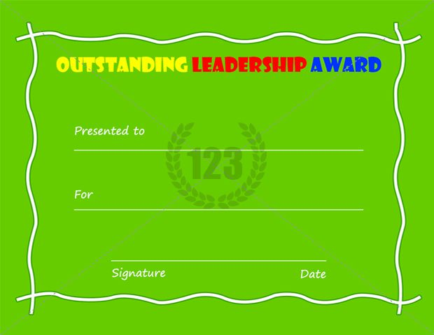 Outstanding Leadership Award Template Free Download Certificate - blank award certificates