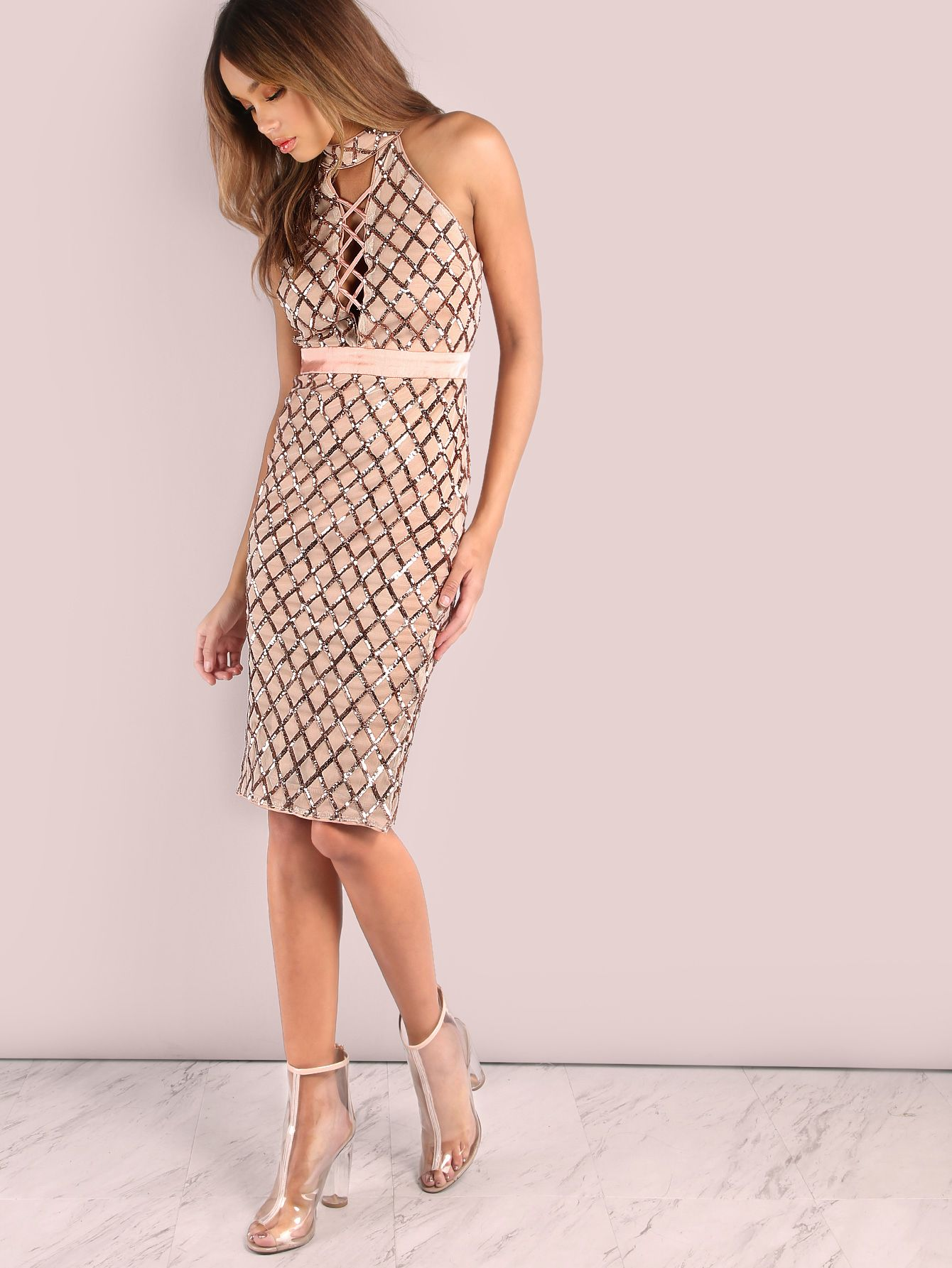 26c6a5fd25 Shop Cross Bust High Neck Sequin Midi Dress ROSE GOLD online. SheIn offers  Cross Bust High Neck Sequin Midi Dress ROSE GOLD   more to fit your  fashionable ...