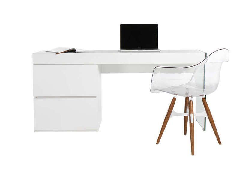 Bureau blanc laqué et verre bureaus stylish office and house