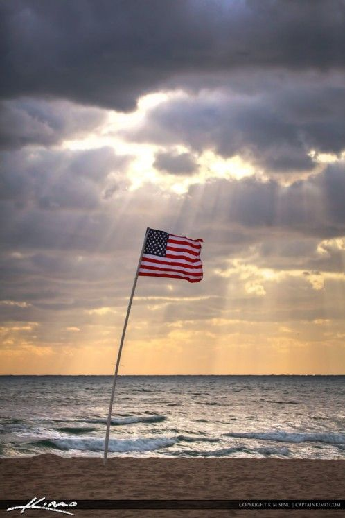 United States Flag At Beach In Pompano During Sunrise Letter F