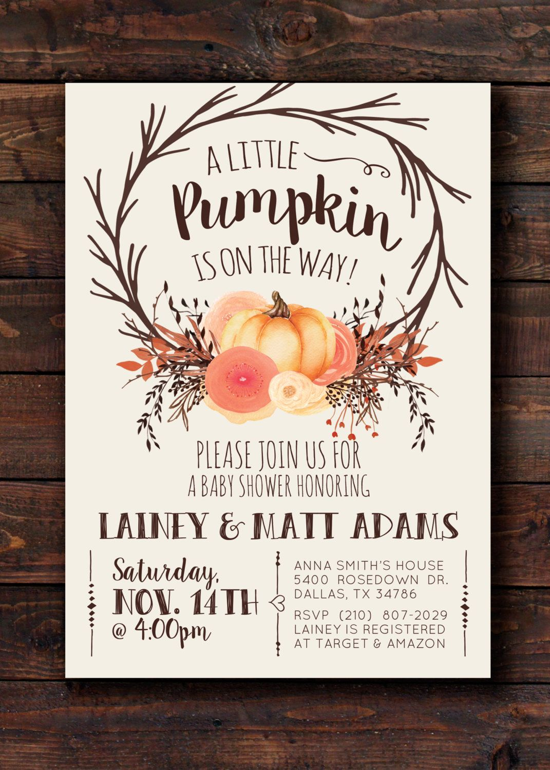 free printable camo baby shower invitations templates%0A Woodland Fall Autumn Pumpkin Rustic Baby Shower Invitation